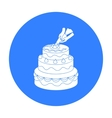 Decorating of birthday cake icon in black style vector image vector image