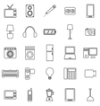Electrical machine line icons on white background vector image vector image