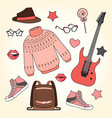 fashion accessories set woman and girl clothes vector image
