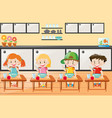 four kids eating in the kitchen vector image
