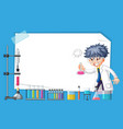 frame design with scientist working in lab vector image vector image