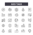 geo tags line icons signs set outline vector image vector image