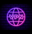 glowing neon vpn network connection icon isolated vector image vector image
