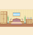 gracefull bedroom interior in light colors with vector image vector image