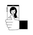 hand with cellphone woman photo vector image vector image