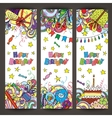 Happy Birthday greeting banners with celebration vector image vector image