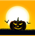happy halloween card with scary pumpkin and bats vector image
