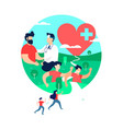 health and exercise concept of people with doctor vector image vector image