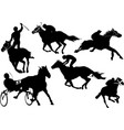 Horse racing silhouettes colored for designers vector image