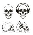 human skull set hand drawn vector image vector image