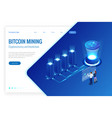 isometric bitcoin mining concept cryptocurrency vector image vector image