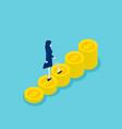 isometric businesswoman walking on money step vector image vector image