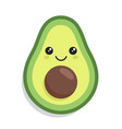 kawaii cute avocado with a smile vector image