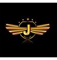 Letter J winged crests logo Alphabet logotype vector image vector image