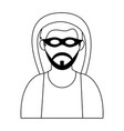 man face with mask and beard head black and white vector image vector image