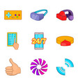 manual device icons set cartoon style vector image