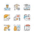 medicine outline flat icons vector image vector image