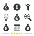 Money bag icons Dollar Euro Pound and Yen vector image vector image