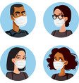 people wearing medical mask avatars set vector image