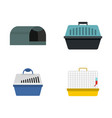 pet box icon set flat style vector image vector image