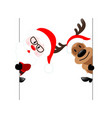 reindeer amp santa claus diagonal banner on vector image vector image