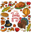 round frame with thanksgiving icons vector image vector image