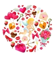 Round template with Valentines Day icons vector image vector image