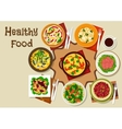 Salad dishes and healthy snack food icon vector image vector image