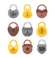 set padlocks golden vector image vector image