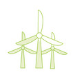 silhouette windpower technology to environment vector image