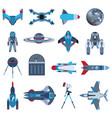 spacecrafts rocket icon set spaceship galaxy vector image vector image