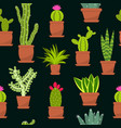 succulent and cactus seamless pattern vector image