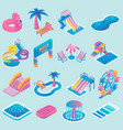 water park flat isometric icon set vector image