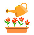 watering can and flowers isolated cartoon vector image vector image