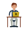 young man using laptop on desk vector image