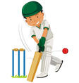 Man player playing cricket vector image