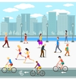 Group of people promenade on city river street vector image