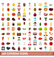 100 catering icons set flat style vector image vector image