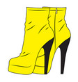 a pair of yellow high heel boots isolateds vector image vector image