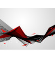 abstract red black background waves vector image