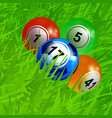 bingo balls soccer football on green grass vector image vector image