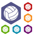 black volleyball ball icons set hexagon vector image vector image