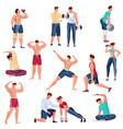 bodybuilding flat set vector image vector image