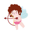 cartoon cute cupid with arrow and bow romantic vector image