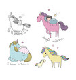 cartoon unicorn mythical animal cute pegasus vector image