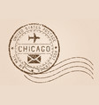 chicago mail stamp old faded retro styled impress vector image vector image