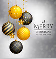 christmas card xmas golden balls and stars vector image