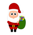 christmas santa claus holding a present bag vector image vector image