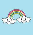 colorful rainbow and clouds with cute faces vector image