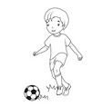 coloring book boy playing soccer vector image vector image